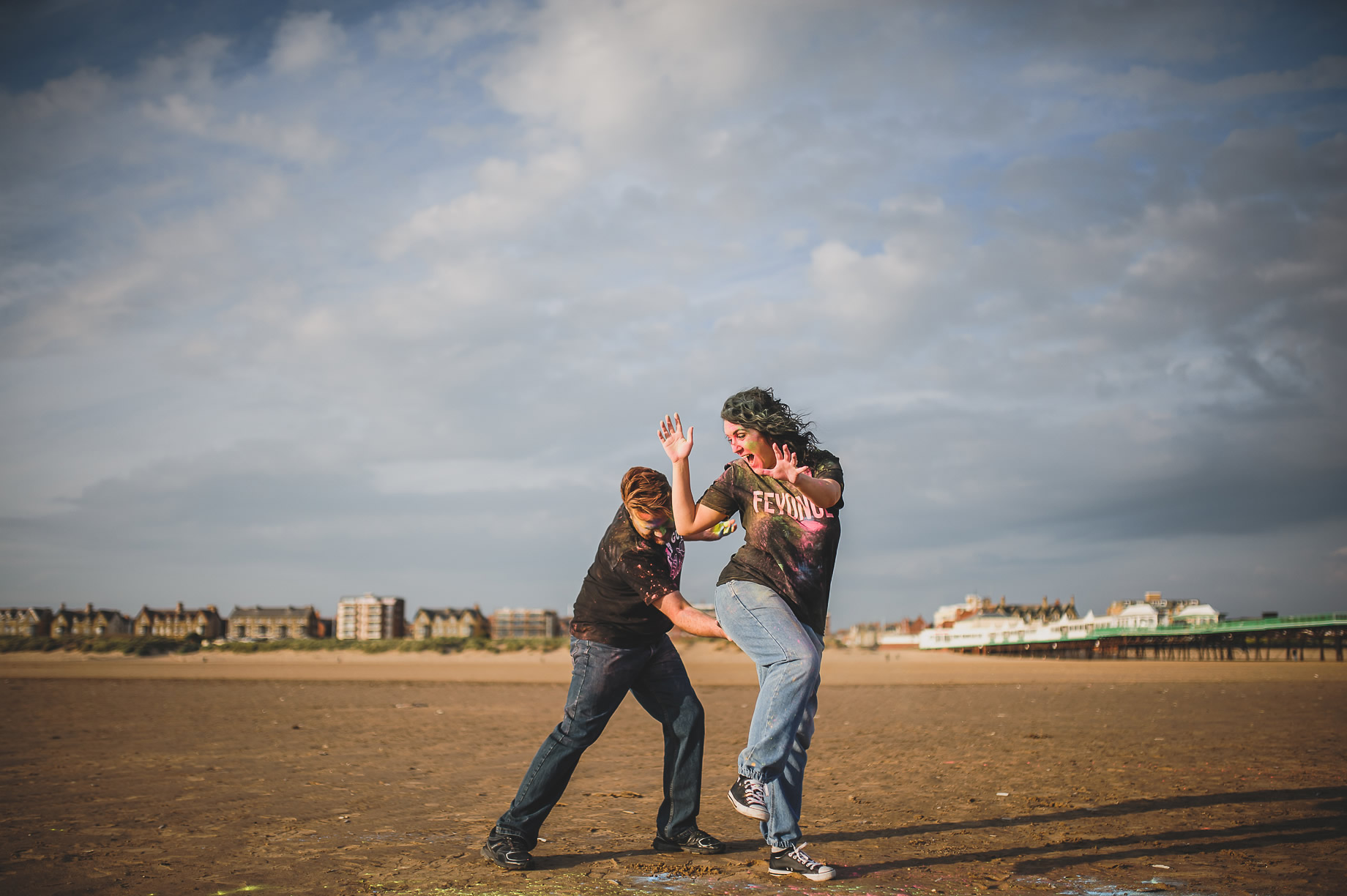 Becky and John's Pre-Wedding Shoot on Lytham St Annes Beach 016
