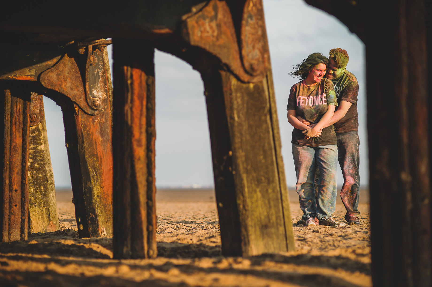 Becky and John's Pre-Wedding Shoot on Lytham St Annes Beach 033