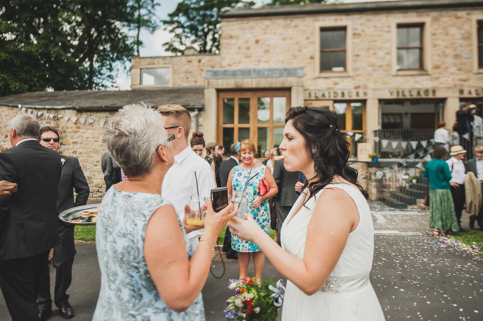 Becky and John's Wedding at Slaidburn Village Hall 107